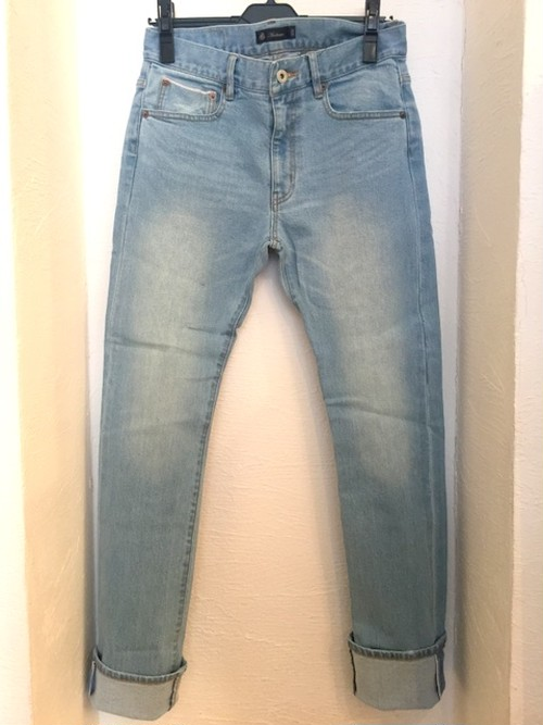 Big Red Line(Selvedge) Vintage Washed Stretch Denim Tight Fit Straight Pants Bleach