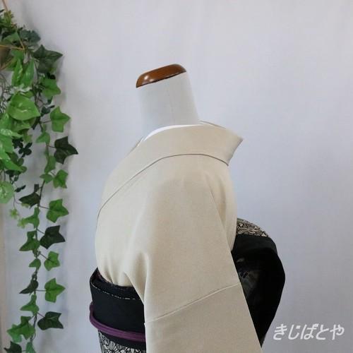 丹後ちりめん 蕎麦切色の江戸小紋草木染 紋入り 作家物
