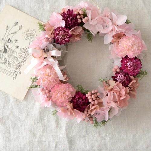 【リングピロー】花かんむりのような桜色のリース(直径約17cm)(受注製作)