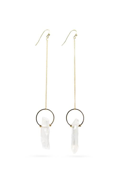 Crystal Stick Stone Long Chain Earrings