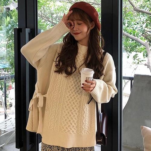 【トップス】韓国系スリットボウタイプルオーバーニットセーター