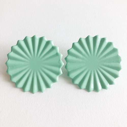 mint green design round earring[e-1163]