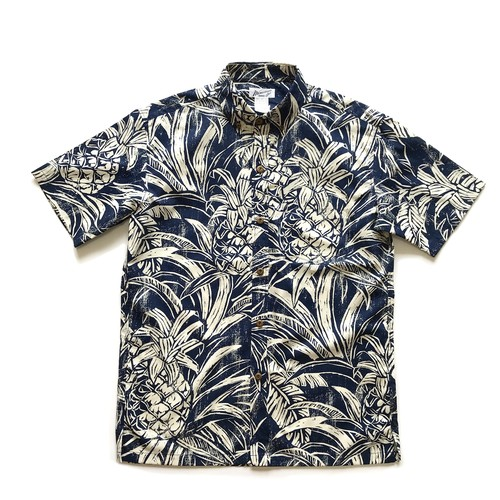 Mountain Men's ボタンダウンアロハシャツ / Pineapple wood cut / Navy