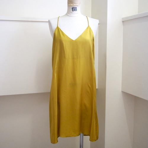【hippiness】cupro  Vneck semi long camisole(mustard) /【ヒッピネス】キュプラVネックセミロングキャミソール(マスタード)