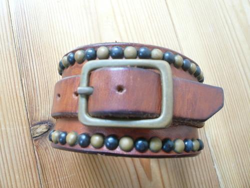真鍮&ブラックスタッズ使用サドルレザーブレスレット4cm幅