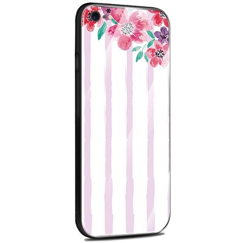 Jenny Desse iPhone XR ケース カバー 背面強化ガラスケース  背面ガラスフィルム シリコンハイブリッドケース 対応 sim free 対応 花とストライプ(パープル)