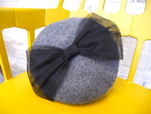 チュールリボンベレー帽 gray