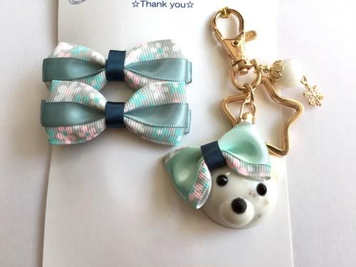 オルゴナイト☆シロクマさんのバッグチャーム女の子バージョン♪お揃いリボンピン付vol2