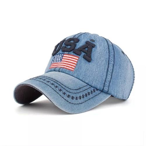 【即納】USA 帽子 刺繍入り デニムキャップ