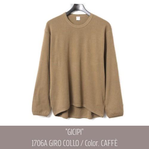 【gicipi】 イタリア製 コットン カシミア クルーネック Tシャツ (GIRO COLLO L/S 1706A) 〈Caffe〉