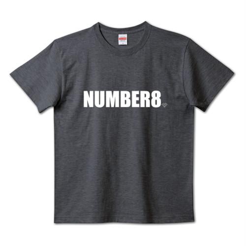 Number8(ナンバーエイト) ホワイトロゴスモールダイヤモンドTシャツダークヘザーネイビー(United Athle)