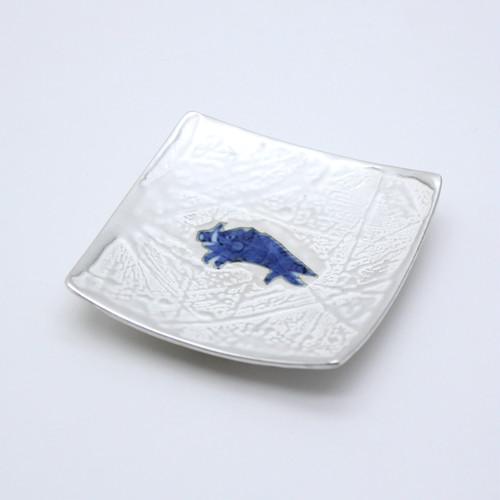 銀彩染付干支亥9cm角小皿