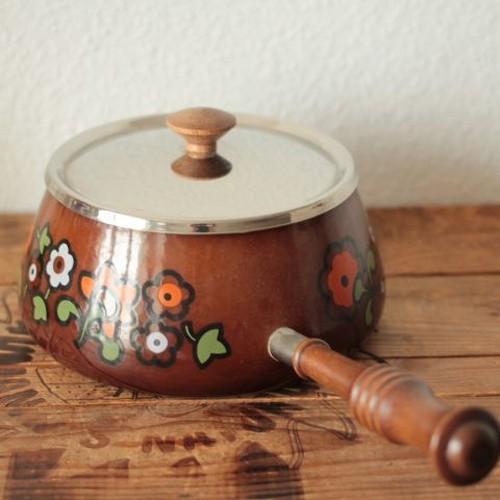 ヴィンテージ 茶色いフラワープリント レトロな片手鍋/フォンデュ鍋