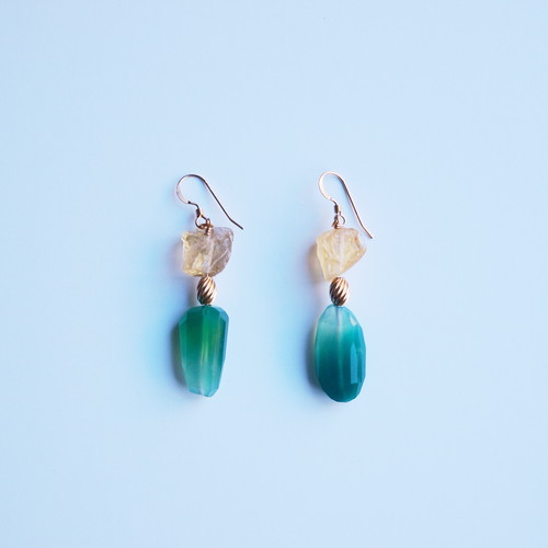 Perfume Bottle Pierced Earrings|Green Onyx,Citrin