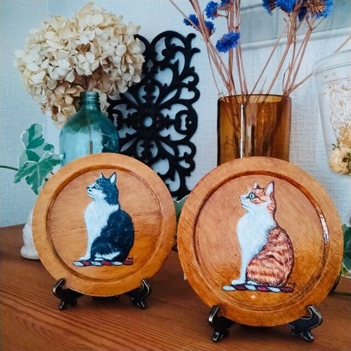 mimigris / 猫のプレート(茶白or白黒)