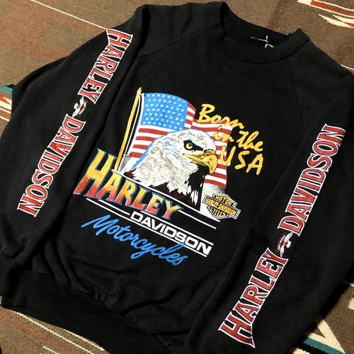 80's ハーレーダビッドソン ビンテージ スウェット S~Mサイズ ブラック イーグル 両面プリント 袖プリ