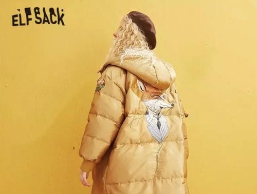 サテンキツネアップリケストレート暖かコート女性 ジッパー刺繍 女性