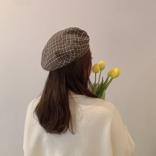タータンチェックベレー帽 U3473