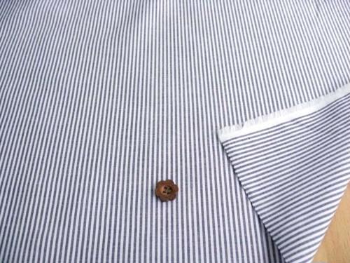 綿ブロード・サマーストライプ(織物) ホワイト+マリーン CTM-0111