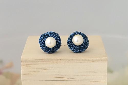 marble 露草色のピアス/イヤリング