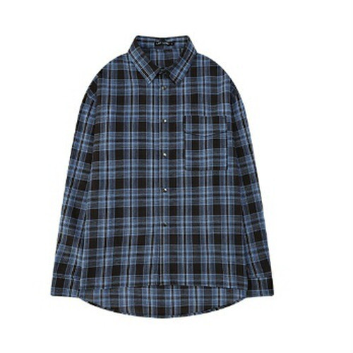 長袖チェックシャツ。ユニセックスオーバーサイズブルー/レッド