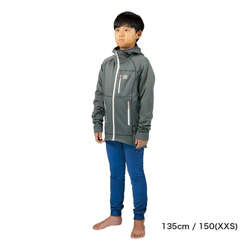 Kids 130 / UN3100 Mid weight fleece hoody / Charcoal
