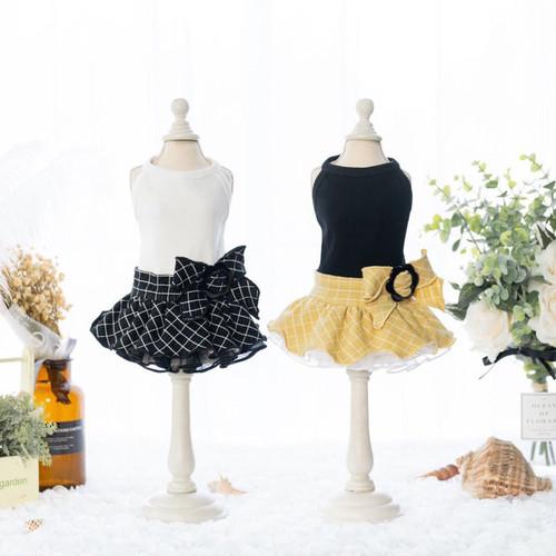【犬服・ドッグウェア】Fancy House トップス付き チェックのボリュームスカート・ワンピース