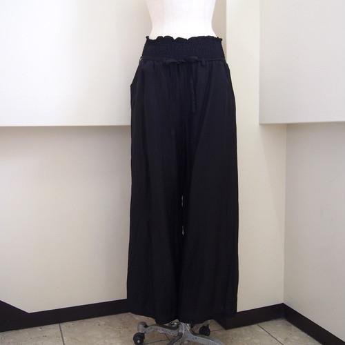 【hippiness】cupro shirring pants (30black) /【ヒッピネス】キュプラシャーリングパンツ(30ブラック)