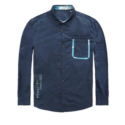 メンズ大きい男サイズポイントロゴポケットカラーシャツ