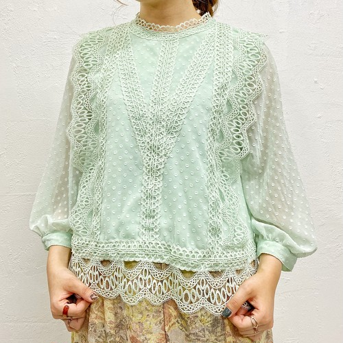 (LOOK) dot embroidery lace blouse