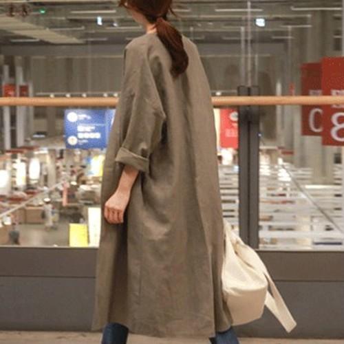 【アウター】伸び良く快適長袖ファッションレトロカジュアル切り替え無地トレンチコート24155862