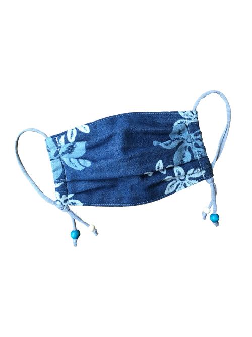 ハワイアンデニム  花柄コットン裏地 ウッドビーズ | ハンドメイドマスク
