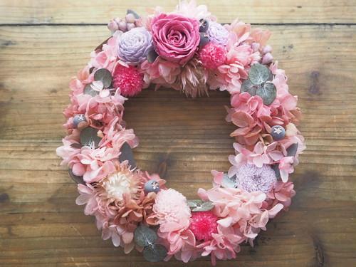 Bonheur Couronne <Mignon Rose>* 幸せ舞い込むリース・壁掛け