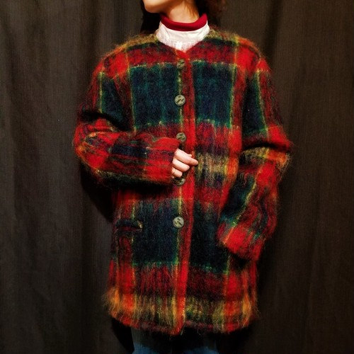 Check pattern mohair coat [H-90]