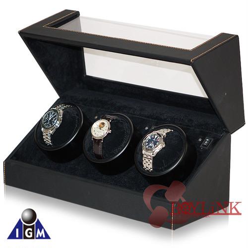 シンプルで上品なデザイン IGIMIオリジナル 3本巻き黒合皮ウォッチワインダー