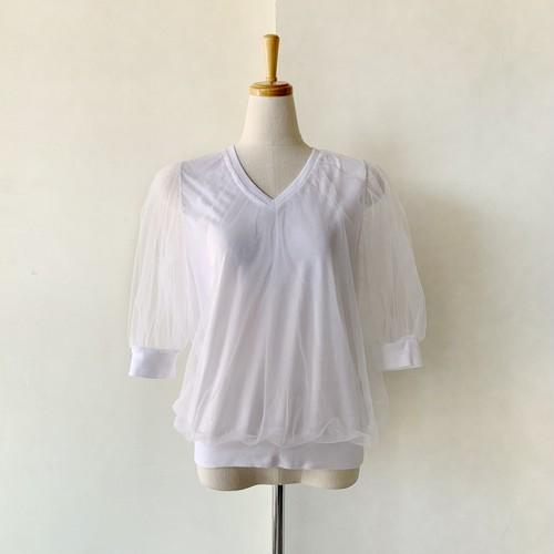Double Standard Clothing×akko3839 Vネックチュールレイヤードブラウス 0508-440-212