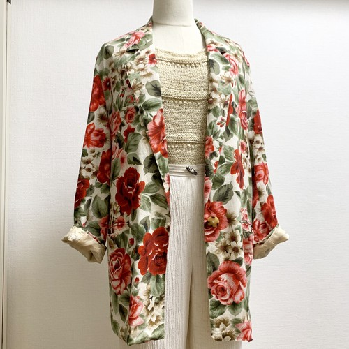 Vintage Botanical Pattern Tailored Jacket