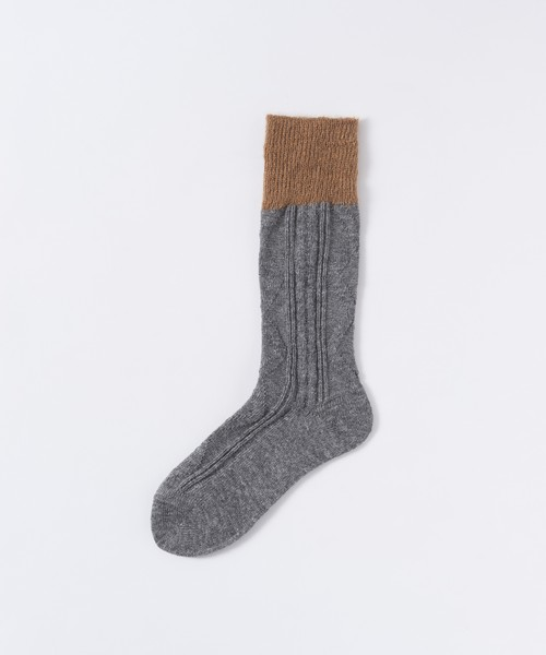 【TRICOTÉ】CABLE FUR SOCKS:チャコール