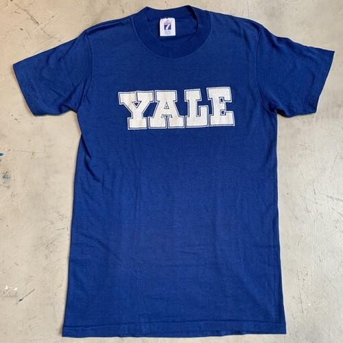 80's 90's YALE プリントTシャツ カレッジTee イェール大学 ブルー ホワイト LOGO7 シングルステッチ Mサイズ USA製 希少 ヴィンテージ  BA-1097 RM1466H