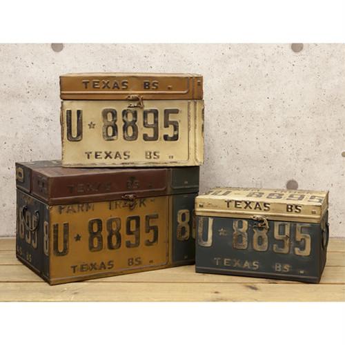 ナンバープレートボックス収納3点セット*レトロ調*テキサス*本州送料無料