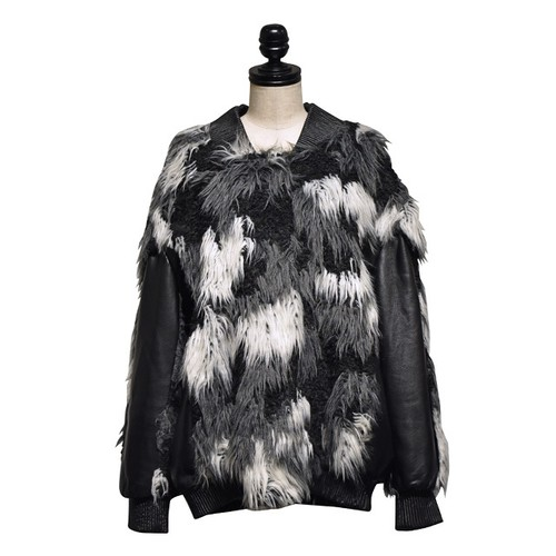 NATALIE KOLYOZYAN / Leather Sleeve Faux-Fur Bomber Jacket / Black