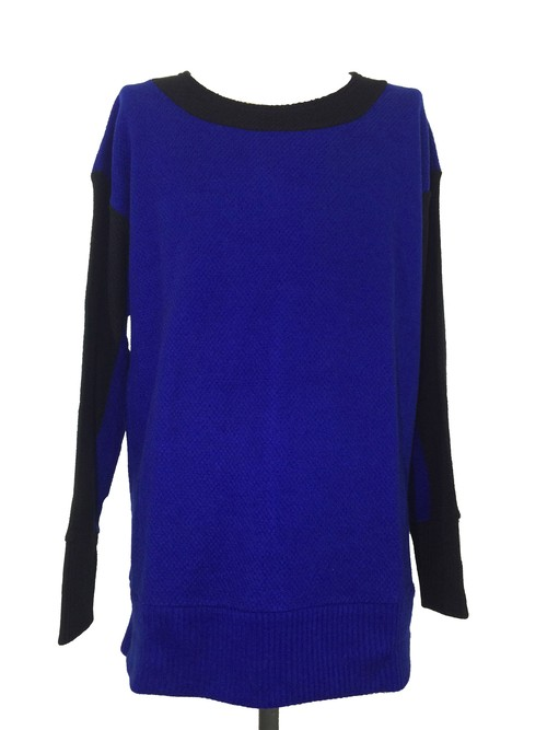 BICOLOR DROP SHOULDER SLEEVES  -BLUE / BLACK-