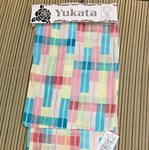 【新品】変わり織り パステルカラーの浴衣~旧モデルのため値下げしました