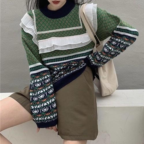 frill green pattern knit