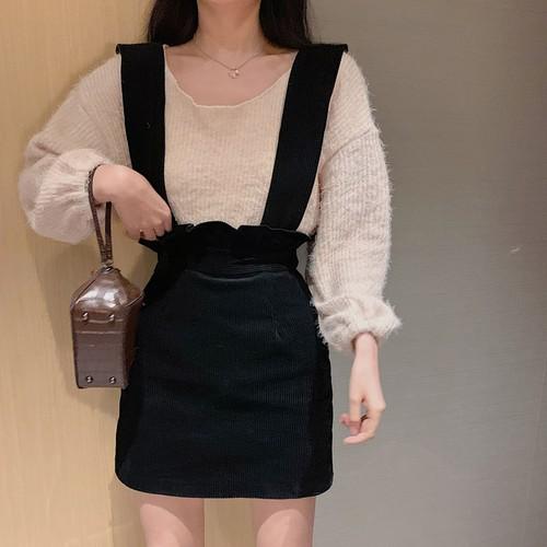 【送料無料 】ルーズ × タイト ♡ 2点セット セットアップ シャギー ニット × コーデュロイ サス付き ミニ スカート