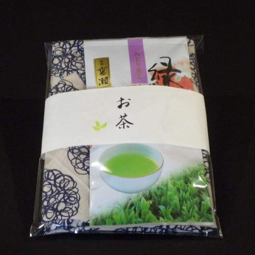 香川茶 煎茶 高瀬 オリジナルあずま袋セット(藍色)