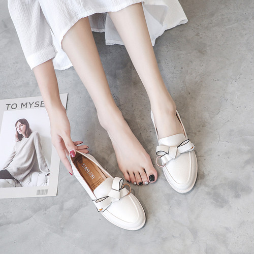 リボン付きローファー 革靴 かわいい リボン フェミニン 通勤 通学 韓国