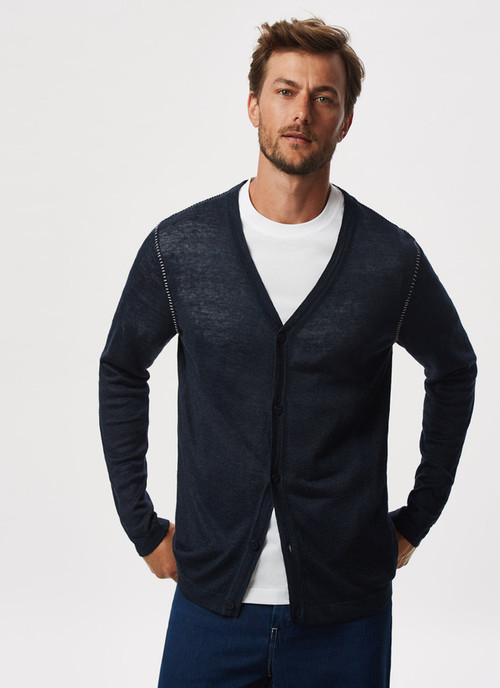 CARDIGAN WITH VISIBLE STITCHING