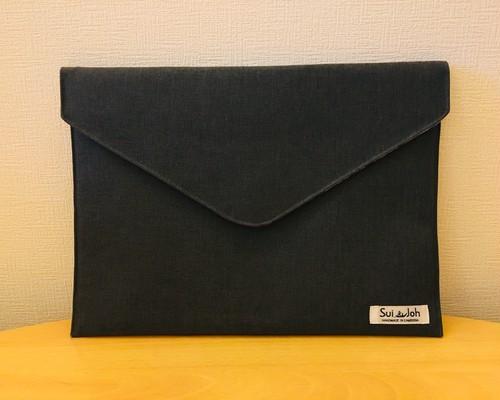 封筒型 クラッチバッグ M《大人なグレー》(ノートPCも入る!)【カンボジアメイド】