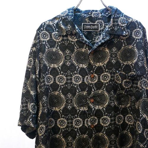 【USED】Ocean Pacific 総柄 レーヨン オープンカラー シャツ